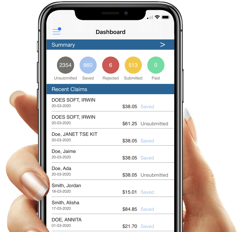 OHIP Medical Billing App on a Phone