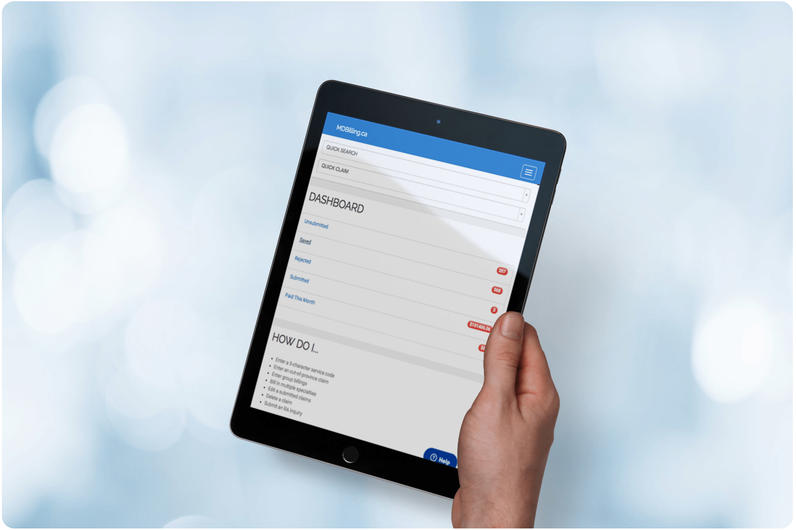 OHIP medical billing software on a tablet